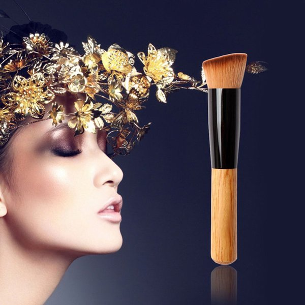 Professional Bamboo Foundation Brush Blush Angled Flat Top Base Liquid Cosmetic Makeup Brush