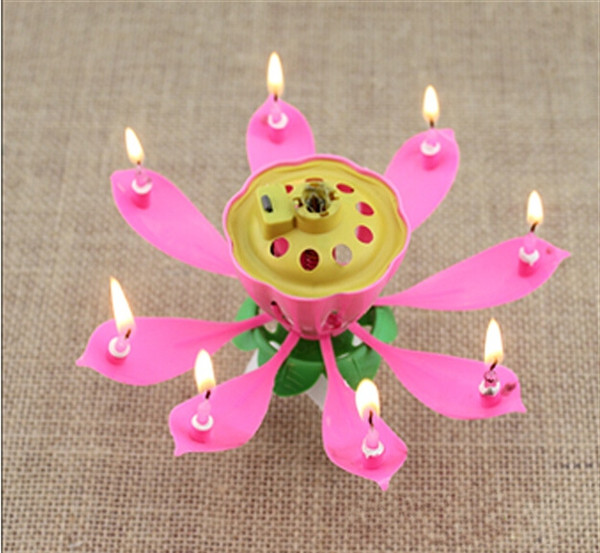 2017 New Velas Decorativas Newest Music Candle Birthday Party Wedding Lotus Sparkling Flower Candles Light Event Festive Supplies Ems free