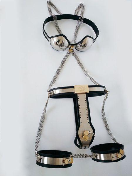 Handmade Female Chastity Devices Set Ceinture de chasteté + soutien-gorge de chasteté + poignets cuisse Anal Vagina Plug bdsm Bondage Sex Jeux pour les couples