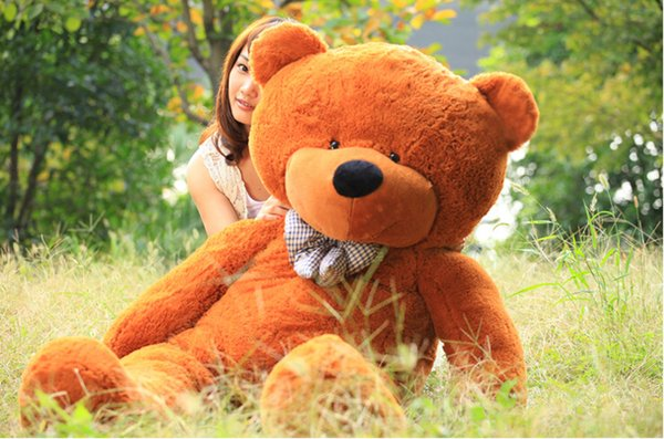 "2016 6.3 FEET TEDDY BEAR STUFFED LIGHT BROWN GIANT JUMBO 72"" 180cm birthday gift vchgfyh"