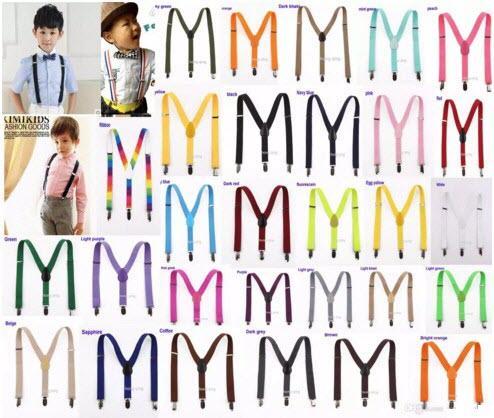 20 pcs Nouveau Enfants Enfants Garçon Filles Clip-on Y Retour Élastique Bretelles Réglable Bretelles Cadeau de Noël en couleur
