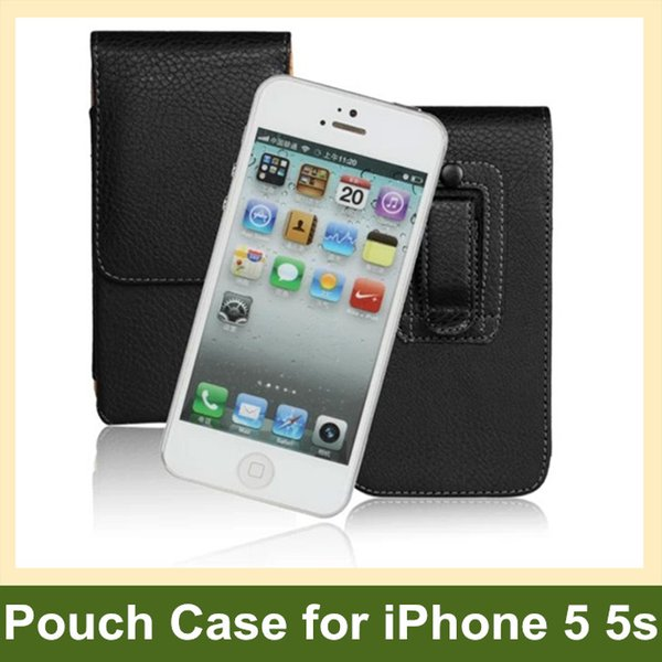 Wholesale For Apple iPhone 5 5s Case Belt Clip PU Leather Vertical Flip Pouch Case for Apple iPhone 5 5s Free Shipping Free Shipping