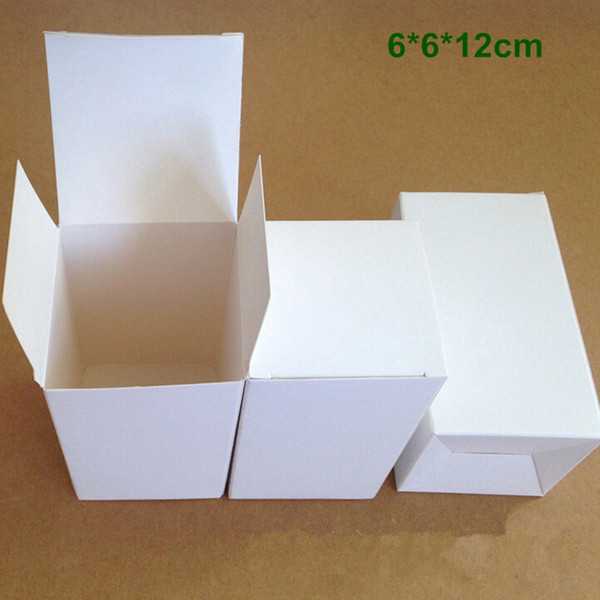 Retail 6*6*12cm DIY White Cardboard Paper Folding Box Gift Packaging Box for Jewelry Ornaments Perfume Cosmetic Bottle Weddy Candy Tea