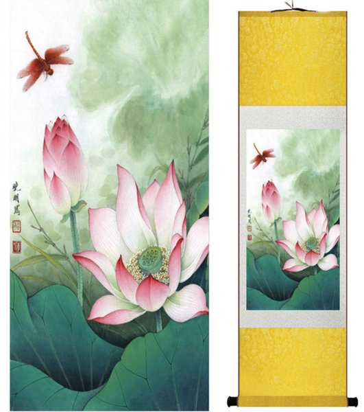 1 Piece HD Printed Lotus Flower Wall Pictures Chinese Scroll Silk Wall Art Poster Picture Painting Home Decoration Wall Hanging