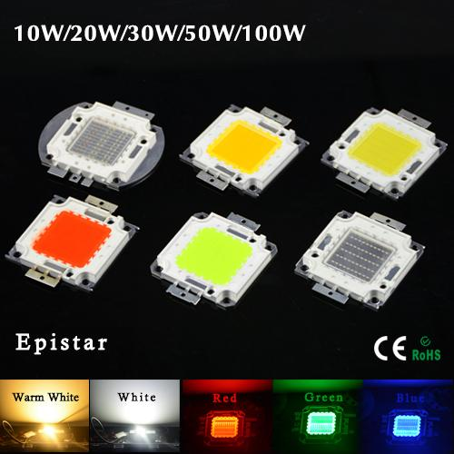 10 W 20 W 30 W 50 W 100 W Yüksek Güç Entegre LED lamba Boncuk Cips SMD Ampul Işıklandırmalı Spot işık Sıcak beyaz / Kırmızı / Yeşil / Mavi / RGB