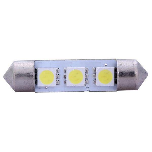 Yeni Ücretsiz Kargo 10 x Beyaz 31/36/39/41 MM 3 LED 5050 SMD Festoon Dome Araba Işık İç Lamba Ampul 12 V LLCA0008
