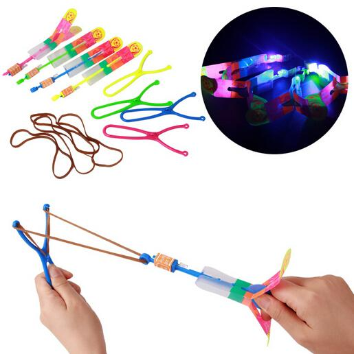 (50 pieces/lot) slingshot toy amazing arrow helicopter rubber band power copters kids led flying toy