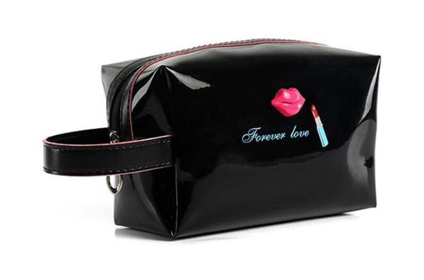 10pcs Women 6 color Lip Beach Bags Travel small zipper patent leather bags Fashion Female Tote Purse