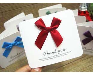 Free ship!50pc! Beautiful satin bow blessing thank you cards / message bless festival card / flowers with gift card order<$15 no tracking