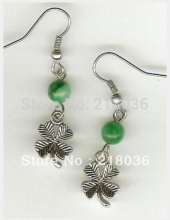 Wholesale Fashion 50 Pair Antiques Silver Bail Irish Shamrock Bead Drop Earrings 925 For Woman DIY Findings Jewelry Gifts Bijoux AM2827