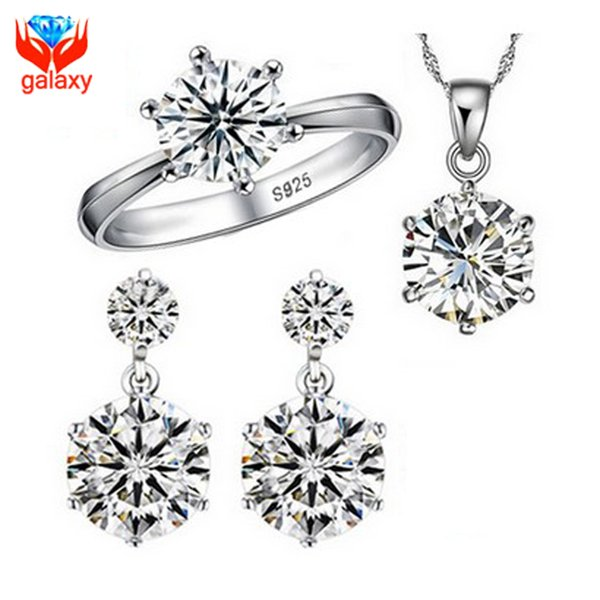 Hot Sale 925 Sterling Silver Bridal Jewelry Sets 1 Carat Cubic Zircon Diamond Ring Necklace Earrings Wedding Jewelry Sets ZS1264