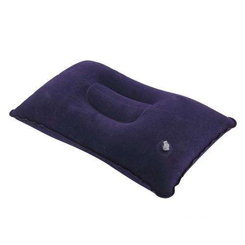 Wholesale- Portable Inflatable Flocked Air Pillow for Rest Bed Travel Cushion