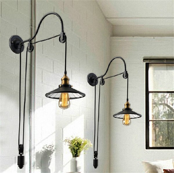 Loft Vintage Wall Lamp Fashion Antique Lighting American Style Lift Retractable Pulley wall sconce Lighting for Aisle Stairs,Agent Drop Ship