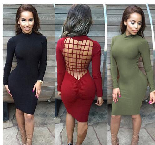 2016 femmes plus la taille robe moulante manches longues kim kardashian robe robe de Festa bronzage modèle noir blanc Bourgogne