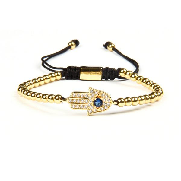 Wholesale 10pcs/lot 4mm Brass Besd With Micro Pave CZ Braiding Hamsa Fatima Hand Bracelets Fashion Couple Jewelry