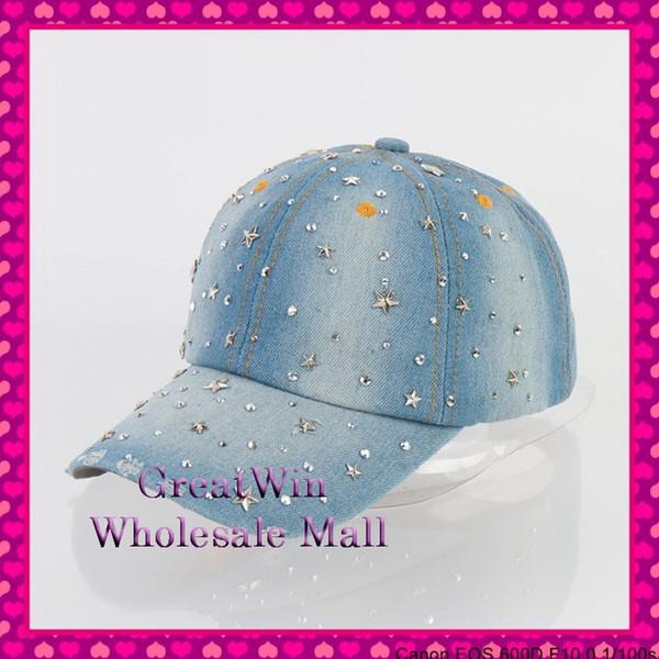 Gros-New fashion mode strass cristal ensemble complet star denim casquette de baseball pour les femmes lady hip hop snapback casquettes snapbacks