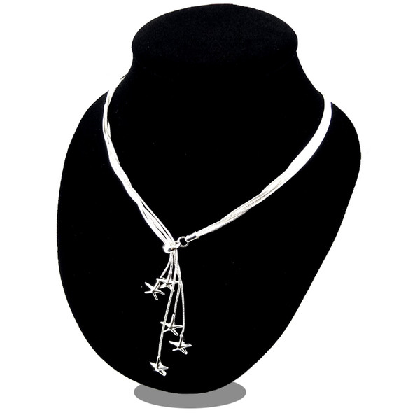 Promotion Sale 925 silver chain necklace Christmas fashion 925 Silver 5 Starfish necklace jewelry FREE Shipping hot sale 1354