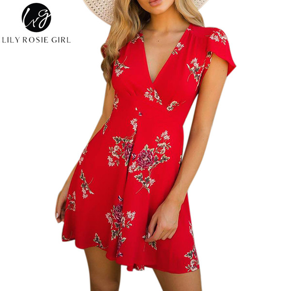 ddd4eec7c4a44 2019 Wholesale Lily Rosie Girl Red Floral Print Deep V Neck Mini Dress  Women Boho Summer Beach Sexy Party Short Warp White Dresses Vestidos From  ...