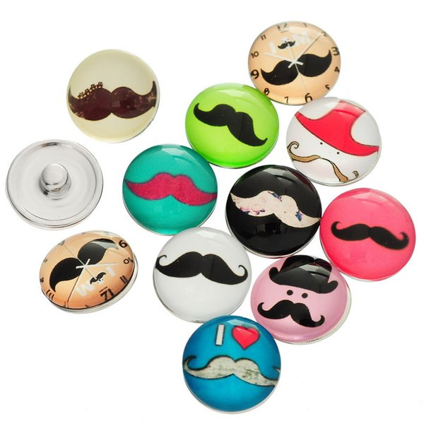 JACK88 60pcs/lot Mix Styles Mustache Glass Snap Button Charm 18 mm Button Fit Ginger Snap Button for Nosa Jewelry N466