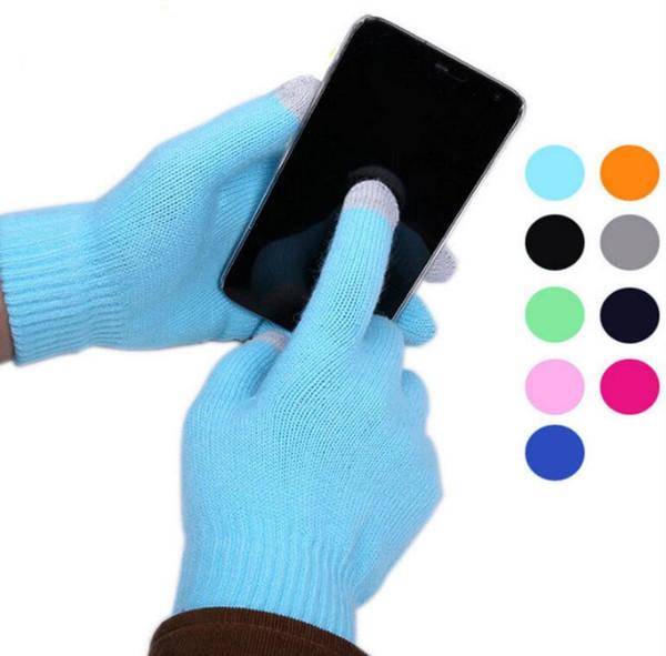 Frauen-Mann-Touch Screen Handschuhe für intelligentes Telefon-Tablette-volle Finger-Winter-Handschuhe warme Winter-Handschuhe Weihnachtsgeschenk 13 färben KKA3272