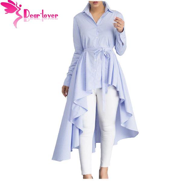 Estimado Amante Camisa Blusa de la raya de Las Mujeres Nueva Moda Blusas Oficina Señoras Otoño Manga Larga Solapa Alta Baja Cinturón Túnica Top C250364 q1113