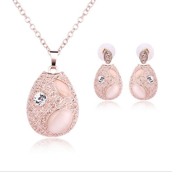 Fashion Women Wedding Party Jewelry Sets Gold Plated Lovely Ellipse Opal Drop Pendant Necklace Earrings Jewelry Sets 61152131