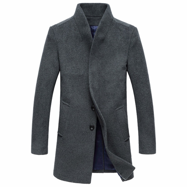 Vintage Style Winter Long Wool Coats For Men Simple Covered Button Plus Size Overcoat Hot Sale Elegant Business Trench Coats