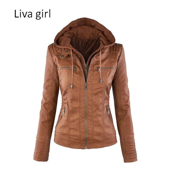 Wholesale- Liva Girl Hot Sale Women Fashion Casual Jackets Long Sleeve Solid Color PU Leather Jackets Plus Size Women Zipper Slim Jackets
