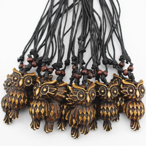 Jóias Por Atacado 12 unidades / lotes Imitação Estilo Tribal Iaque Osso Esculpido Coruja Marrom Pingentes Colar para homens das Mulheres Presente