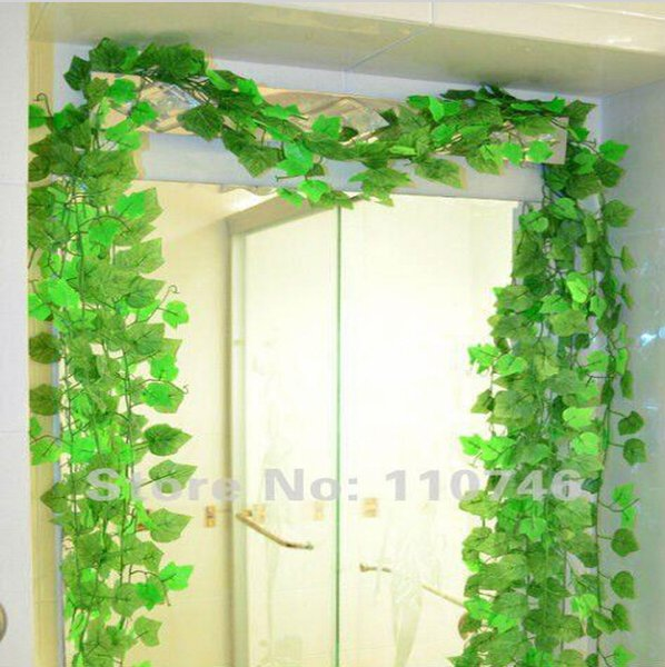Beautiful Green Grape Leaves Vine 24 Piece/Lot, Ivy Simulation Plastic Flower Artificial Plants For Wedding Home Decor