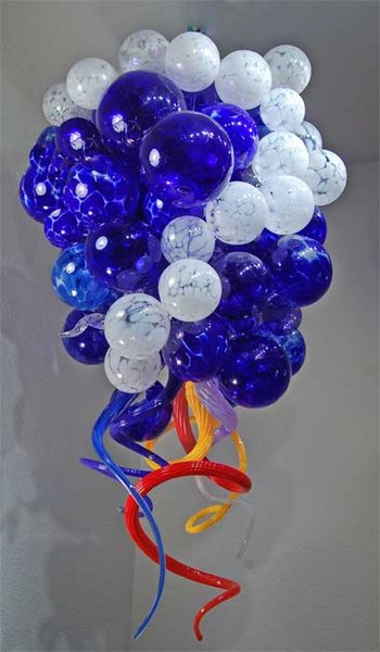 Led Source 100% Hand Blown Borosilicate Glass Dale Chihuly Murano Art Ball Shaped Glass Pendent Lamp
