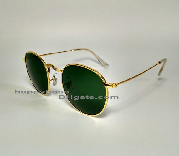 Mejores ventas Hombres Mujeres Gafas de sol de moda Marco de metal redondo verde dorado 50 mm Lentes de cristal Diseñadores Gafas de sol Excelente calidad