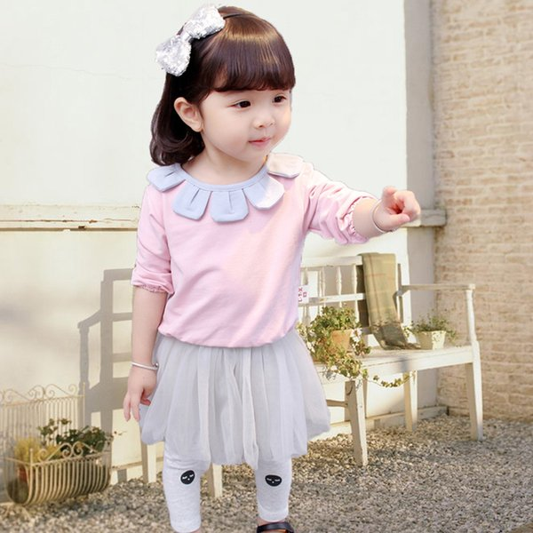 6-24months baby girls dress Baby Girl's Sweet Doll Collar Long Sleeve Tee and Tutu Skirted Leggings Set