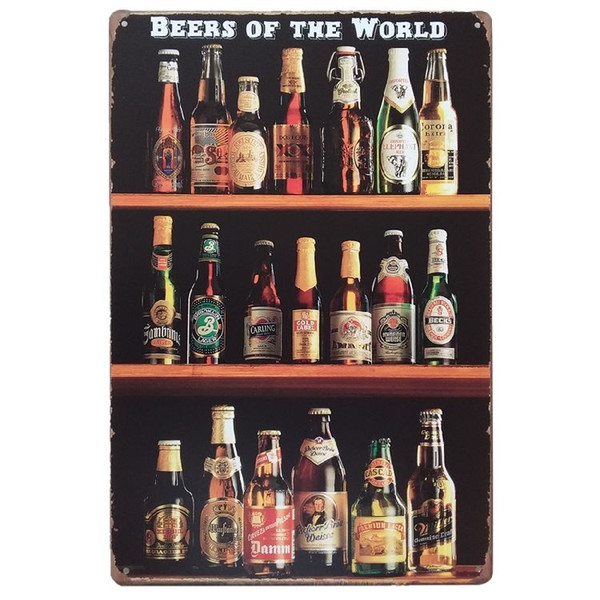 Beers of the world Vintage Tin Signs Poster Retro Plaques Bar House Gallery Kitchen Garage Room Wall Decor Painting