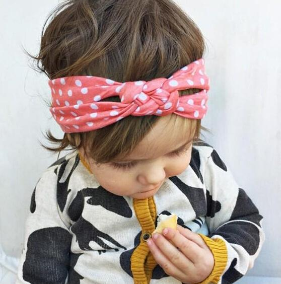 5 Color Princess Baby Kids Sand Beach Hair Bands Dots Knot Bandanas Child Hair Accessories Headbands Band rk778