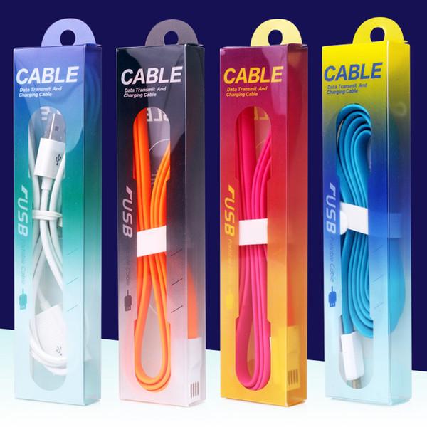 Para las cajas al por menor vacías del cable S6 1M 3FT Cable USB Cargador Adaptador Paquete de la caja de embalaje de PVC para Iphone 6 6s más Samsung S4 S5 S6 edge