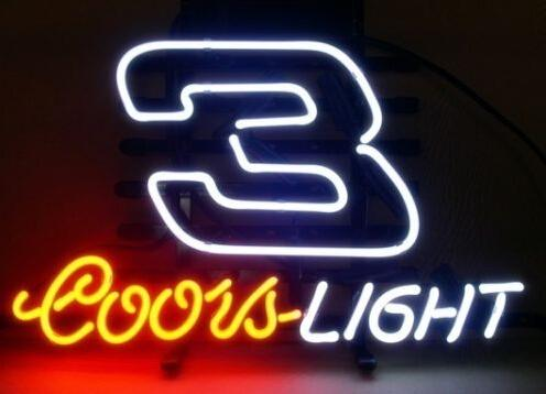 "Coors Light Racing Car No.3 Neon Sign Custom Handmade Real Glass Tube Store Game Sport Advertisement Display Neon Signs 17""X14"""