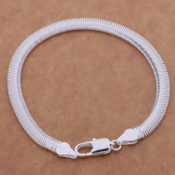 Free Shipping with tracking number Top Sale 925 Silver Bracelet 6M Flat snake chain Bracelet Silver Jewelry 20Pcs/lot cheap 1562