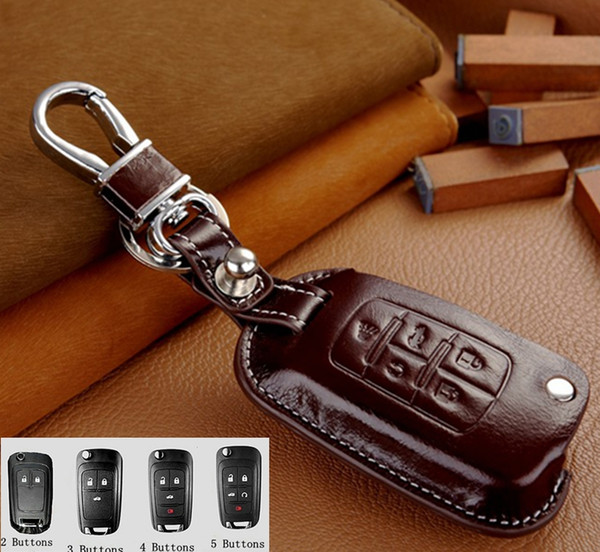 free shipping genuine Leather Remote Case Flip Key Holder Cover For Buick LaCrosse encore envision gl8 Chevy leather keychain