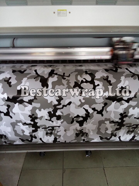 Winter Snow camo vinyl wraps Black white grey With Air Free Vehicle decal Stickers Winter arctic tiger camougflage Film 1.52x30m/Roll