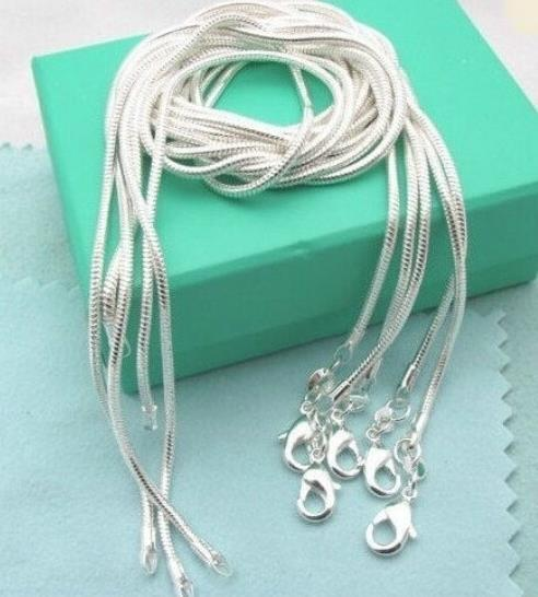 1mm snake chain necklace,Wholesale lots 925 sterling silver jewelry necklaces Fashion jewelry