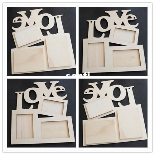 top popular New Arrive Hollow Love Wooden Photo Frame White Base DIY Picture Frame Art Decor 2021