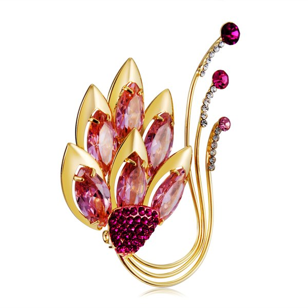 Retail Hot Brand Neoglory Jewelry High Quality Women Brooches With Maple Leaf Crystal Brooch Zircon Drop Shipping One Color BC-0010