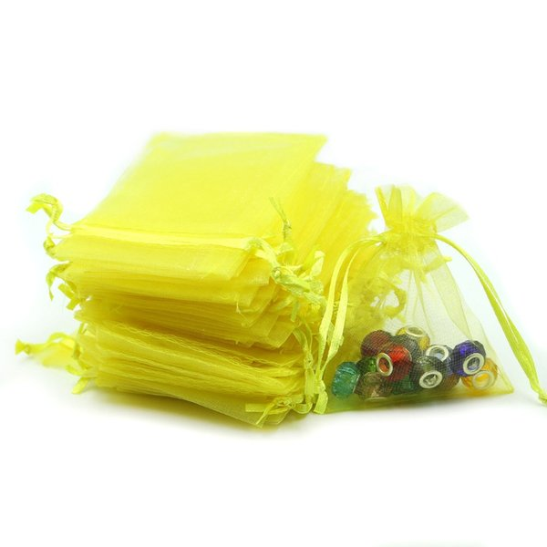 7x9cm Yellow Organza Jewelry Bags Cheap Wedding Gift Bags Retail Packaging Bag Customed Logo Printed 100pcs/lot Wholesale