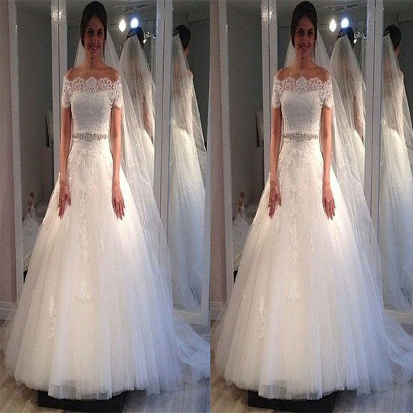 Country Bridal Dress Ball Gown Wedding Short Sleeves Lace Appliques with Off the Shoulder Plus Size Vintage 2018 Dresses for Bride