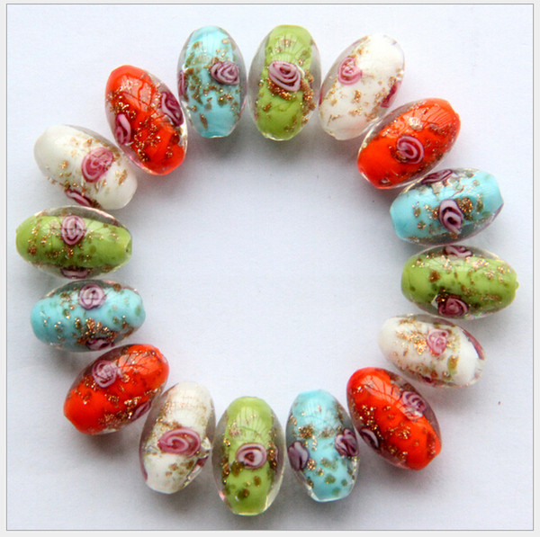 flower gold Europe fashion dust crystal glass drum beads Fit Bracelet Lucky beads Mixed DIY For Brac