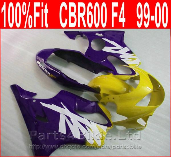 Purple yellow bodykits for Honda Injection molding custom fairings 99 00 CBR 600 F4 fairing kit CBR600 F4 1999 2000 CISW