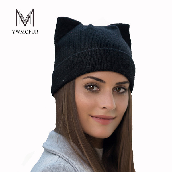 Wholesale- YWMQFUR Winter thicker hat for women high quality knitted wool beanies hat cat ear stylish cap 2017 new fashion lovely cap H123