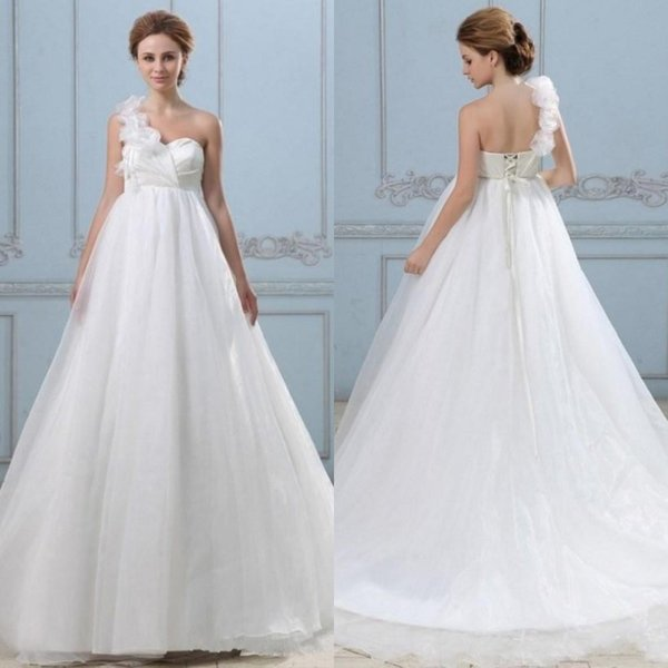 Discount Gorgeous 2016 Maternity Wedding Dresses Floral One Shoulder ...