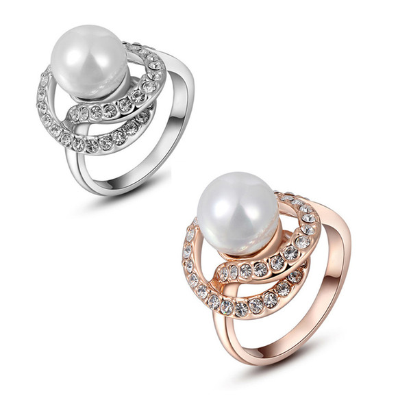 Fashion 18K Rose Gold and White Gold Plated Pearl Rhinestone Green Ring Austrian Diamond Crystal Wedding dress rings